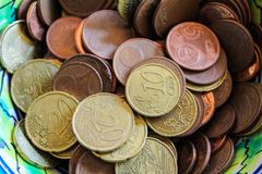 Euro Coins Detail Dinner Wealth. Price Gold Money Russian Dish stock images