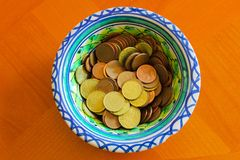 Euro Coins Detail Money Wealth Cash Object. Table Cost Russian Background Restaurant Concept royalty free stock photos