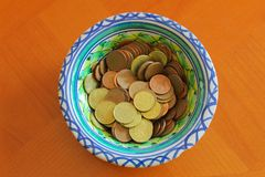 Euro Coins Detail Wealth Object Price. Dinner Russian Dish Finance royalty free stock image
