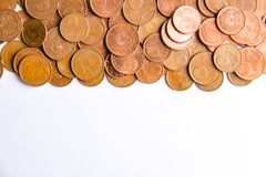Euro coins of different denomination released by Latvia. Latvian euro coins of different denomination stock photo