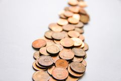 Euro coins of different denomination released by Latvia. Latvian euro coins of different denomination stock image