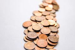 Euro coins of different denomination released by Latvia. Latvian euro coins of different denomination royalty free stock photography