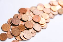 Euro coins of different denomination released by Latvia. Latvian euro coins of different denomination royalty free stock photo