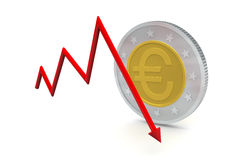 Euro Coins with Down Trend Stock Image