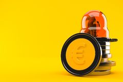 Euro coins with emergency siren. Isolated on orange background. 3d illustration Royalty Free Stock Images