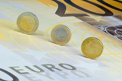 Euro-coins on Euro-banknote. Euro-Coins on 200-Euro-banknote Stock Photo