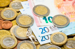 Euro coins and Euro banknotes. Background made from euro coins and Euro banknotes stock photography