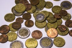 Euro coins. Currency of the European union stock image
