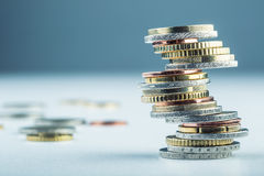 Euro coins. Euro money. Euro currency.Coins stacked on each other in different positions. royalty free stock photos