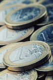 Euro coins. Euro money. Euro currency.Coins stacked on each other in different positions. Royalty Free Stock Photography
