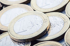 Euro coins. Euro money. Euro currency.Coins stacked on each other in different positions. Royalty Free Stock Image