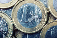 Euro coins. Euro money. Euro currency.Coins stacked on each other in different positions. Royalty Free Stock Images