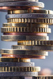 Euro coins. Euro money. Euro currency.Coins stacked on each other in different positions. Stock Photos