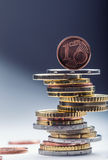 Euro coins. Euro money. Euro currency.Coins stacked on each other in different positions. Stock Photography