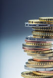 Euro coins. Euro money. Euro currency.Coins stacked on each other in different positions. Royalty Free Stock Photo