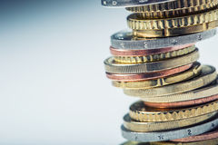 Free Euro Coins. Euro Money. Euro Currency.Coins Stacked On Each Other In Different Positions. Royalty Free Stock Image - 67595606