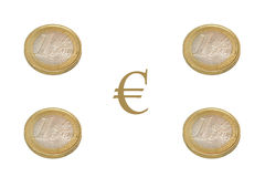 Euro. Coins with  symbol Stock Photos