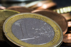 Euro coins. Euro and eurocents in background. Old euro coin Royalty Free Stock Images