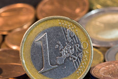 Euro coins. Euro and eurocents in background. Old euro coin Stock Photo
