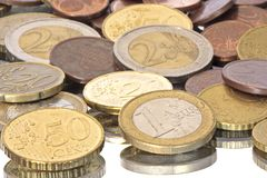 Euro coins from europe. On white Royalty Free Stock Photography