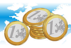 Euro Coins And Europe Map. Vector illustration of Euro coins placed on Europe map Royalty Free Stock Photos