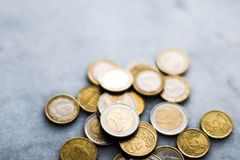 Euro coins, European Union currency. Banking, money and finance concept - Euro coins, European Union currency stock image