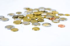 Euro coins, European Union currency. Banking, money and finance concept - Euro coins, European Union currency royalty free stock image