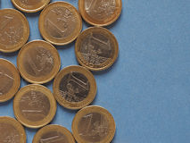 Euro coins, European Union over blue with copy space Stock Photos