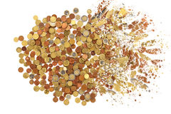 Euro coins explosion on a white background Stock Photography