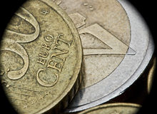 European currency Euro money cent coins. Extreme closeup of Euro coins. Macro photography royalty free stock photography