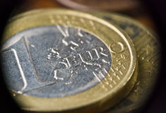 European currency Euro money cent coins. Extreme closeup of Euro coins. Macro photography royalty free stock images