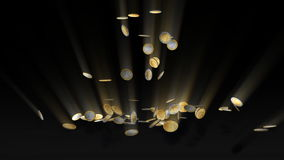Euro coins falling and being hit by shiny word Taxes, Alpha, stock footage Royalty Free Stock Photo