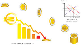Euro coins falling Royalty Free Stock Photo