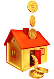 Euro coins falling down to the money box Royalty Free Stock Image