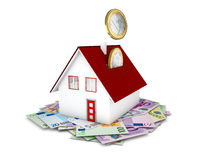 Euro coins falling in house concept. On white background Stock Photography
