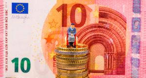 Euro Coins, Figure, Banknote Stock Images