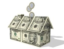 Euro coins filling dollar house Stock Photography