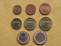 Euro coins flat lay Stock Images