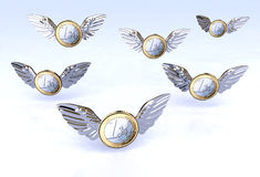 Euro coins flying in the sky Stock Photos
