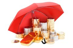 Euro coins and golden ingots under umbrella, financial insurance. Concept. 3D Royalty Free Stock Photography