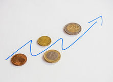 Euro coins and graph of growth. On white background Royalty Free Stock Photo
