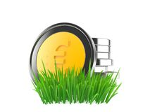 Euro coins on grass. Isolated on white background. 3d illustration stock illustration