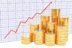 Euro coins with growing chart. 3D rendering. Euro coins with growing chart. 3D Royalty Free Stock Photography