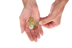Euro coins in hand Stock Photography