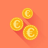 Euro coins icon. Vector illustration in flat style. Gold yellow Royalty Free Stock Photo
