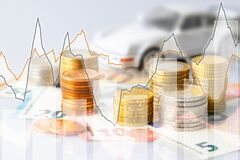 Free Euro Coins In Pile On Euro Banknotes With Charts And Car, For Background Royalty Free Stock Image - 187366966