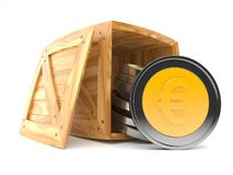Euro coins inside wooden crate. On white background. 3d illustration stock illustration
