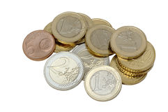 Euro coins isolated. On white
