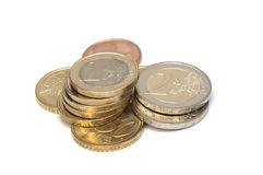 Euro coins isolated. On white Royalty Free Stock Image