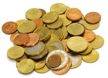 Euro coins isolated. On the white background Royalty Free Stock Photos